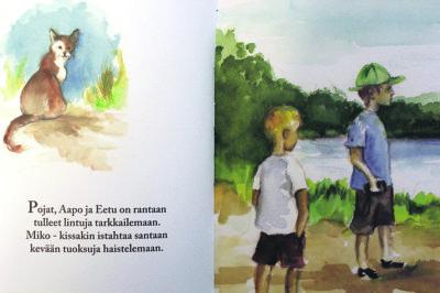 Kaverukset Aapo ja Eetu harrastavat lintujen tarkkailua Ilmarinjärven linnut -kirjassa.