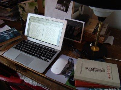 Kotonaan kirjoittava Vainonen säilyttää muistiinpanopapereitaan vain jonkin aikaa kirjan julkaisun jälkeen. Sen jälkeen jäljelle jäävät ainoastaan lopulliset teokset. (Kuva: Kristiina Wallin)