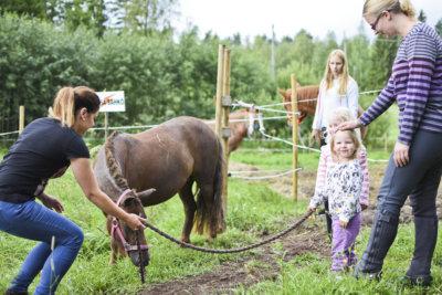 Kaksivuotias Olivia Hangasmaa talutti Roosa-ponin ulos aitauksesta hoitopaikalle.