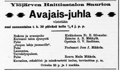ilmoitus Saurion avajaisista, kansan lehti, kuva: Torbjörn Nikus