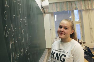 Peruskoulun matematiikkakilpailu, Emilja Särkkä, Markku Sointu, Vuorentaustan koulu, (kuva: Iiria Lehtinen)