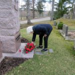 Punaisten muistomerkki sai kukkalaitteen – puheessa varoitettiin työehtojen paikallisesta sanelusta